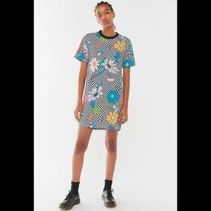 Stussy Vacation Cotton Checkered Psychedelic Trippy Mini Dress Flower Power XS